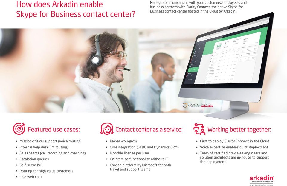 Featured use cases: Contact center as a service: Working better together: Mission-critical support (voice routing) Internal help desk (IM routing) Sales teams (call recording and coaching) Escalation