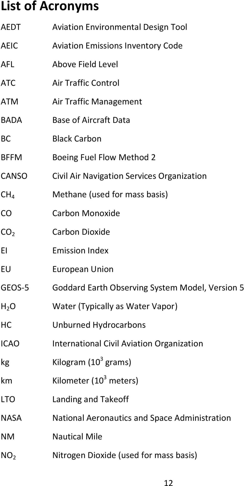 Emission Index European Union GEOS-5 Goddard Earth Observing System Model, Version 5 H 2 O HC ICAO kg km LTO NASA NM NO 2 Water (Typically as Water Vapor) Unburned Hydrocarbons