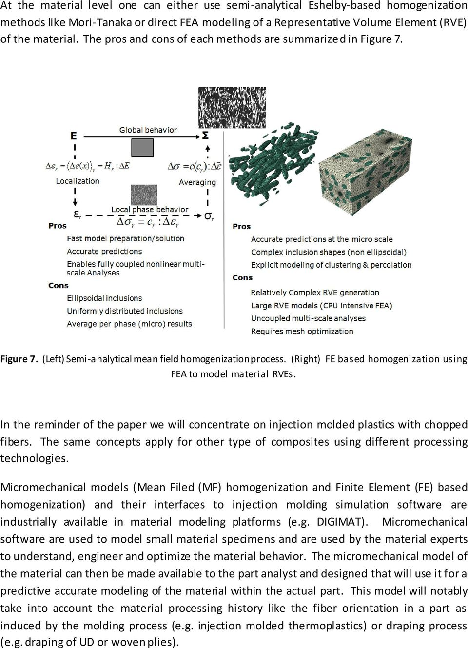 In the reminder of the paper we will concentrate on injection molded plastics with chopped fibers. The same concepts apply for other type of composites using different processing technologies.