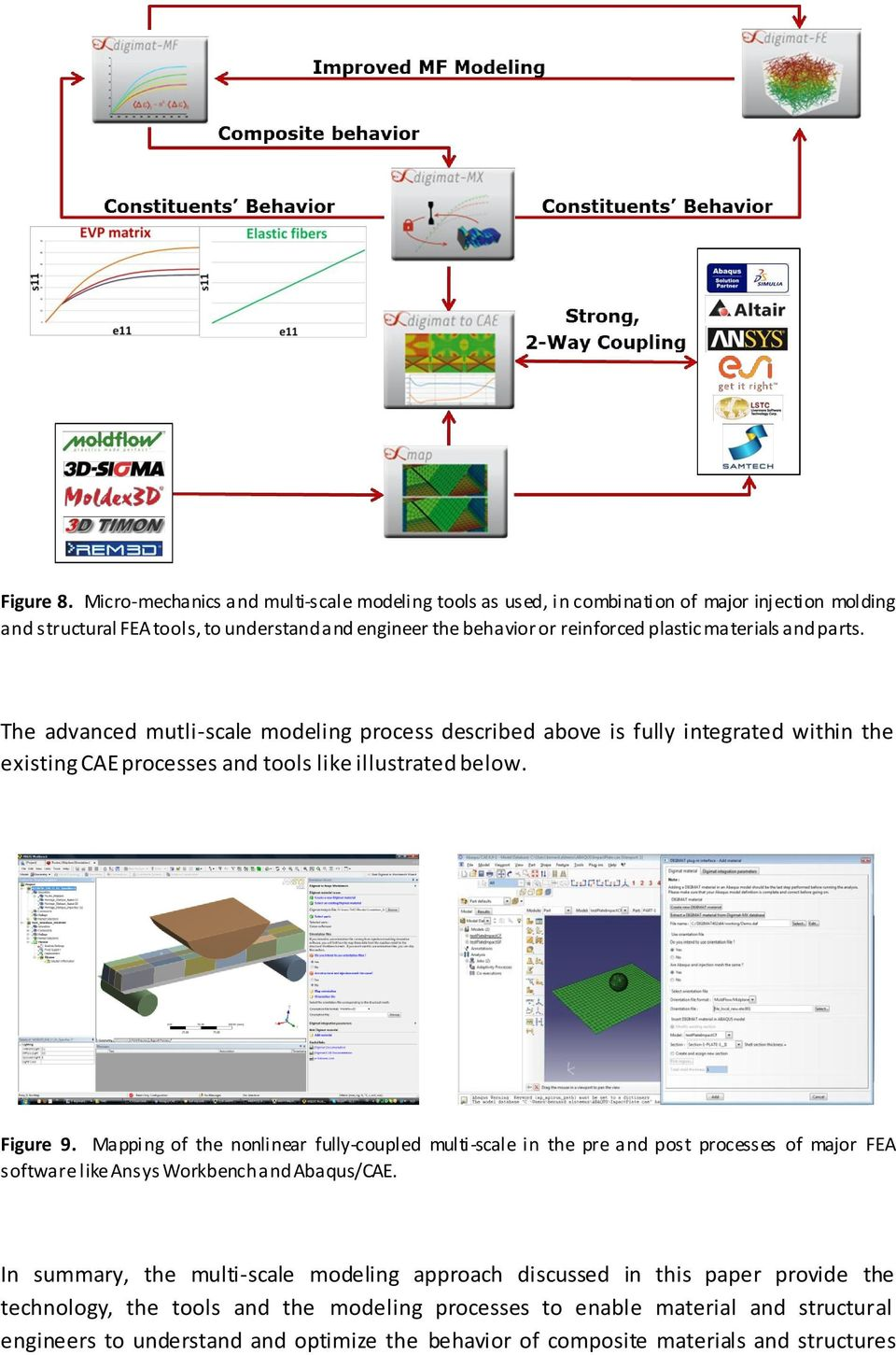 materials and parts. The advanced mutli-scale modeling process described above is fully integrated within the existing CAE processes and tools like illustrated below. Figure 9.