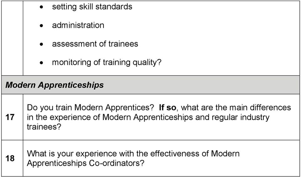 If so, what are the main differences in the experience of Modern Apprenticeships and