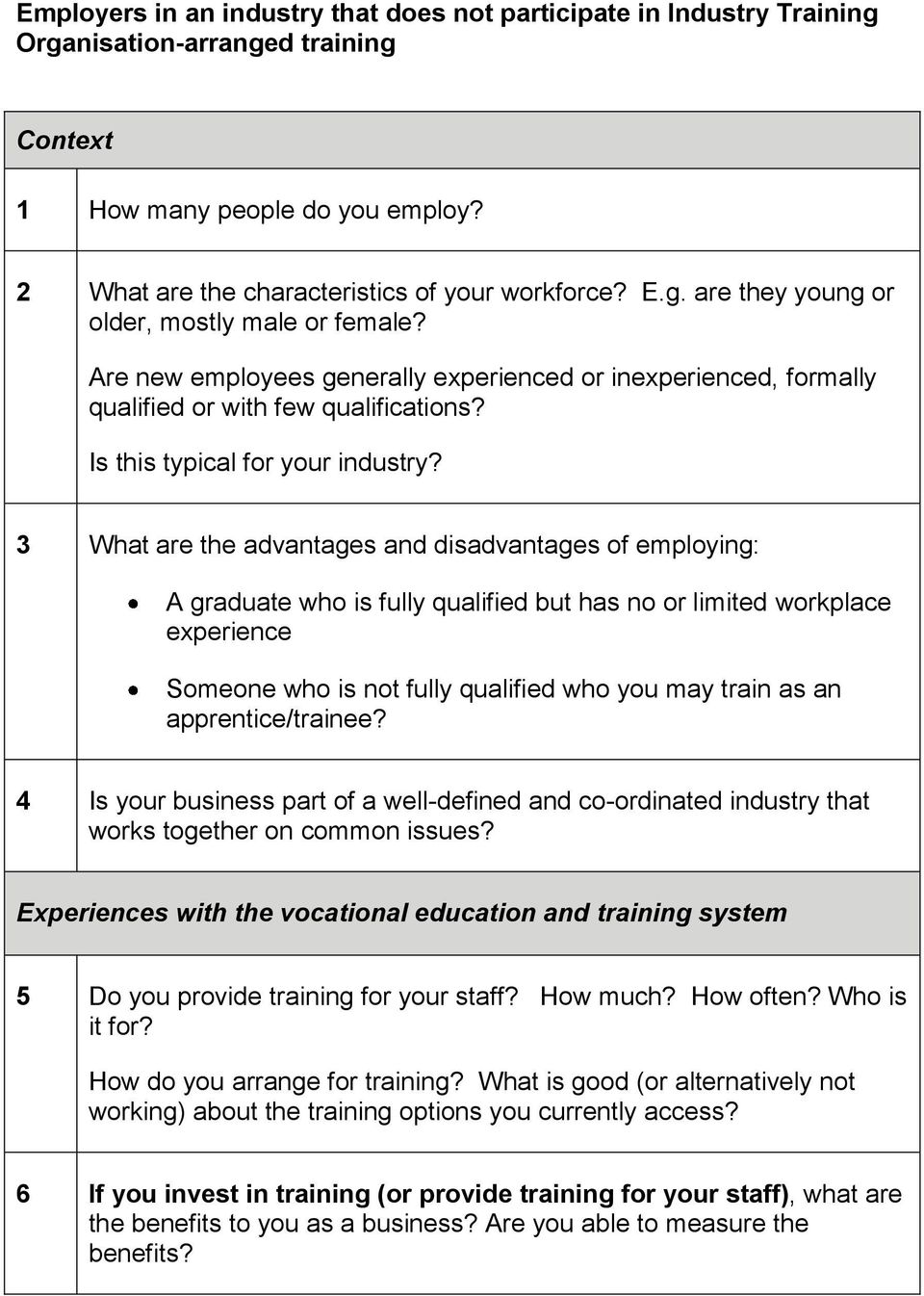 3 What are the advantages and disadvantages of employing: A graduate who is fully qualified but has no or limited workplace experience Someone who is not fully qualified who you may train as an