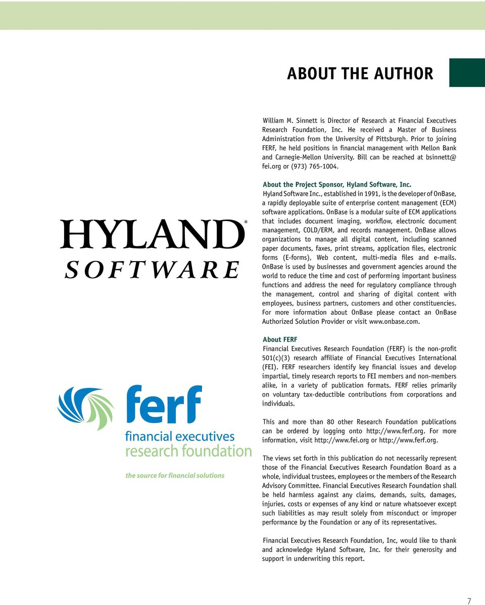 About the Project Sponsor, Hyland Software, Inc. Hyland Software Inc.