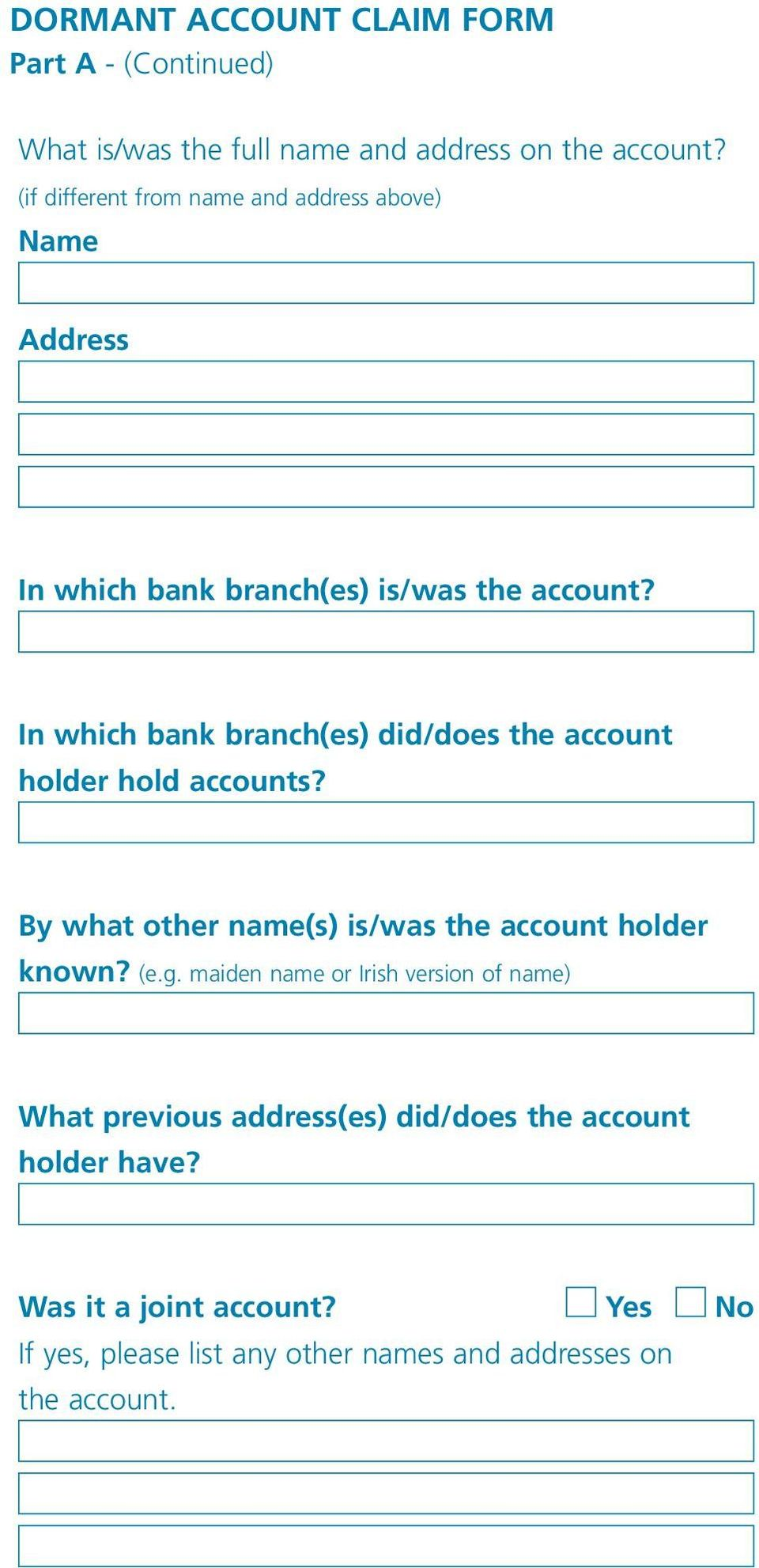 how to find bank account holder address