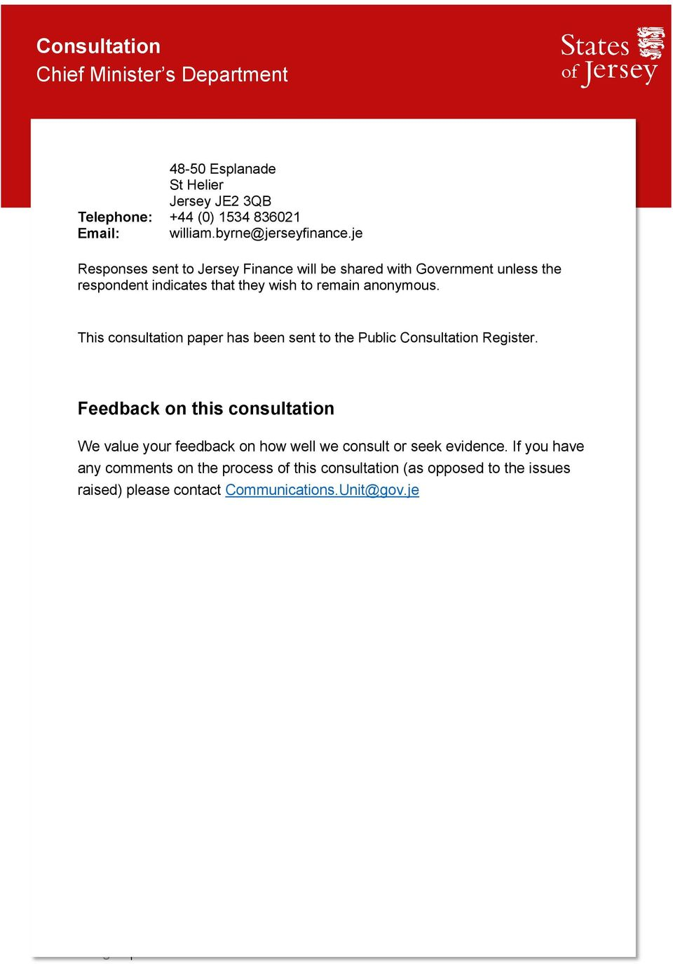 This consultation paper has been sent to the Public Consultation Register.