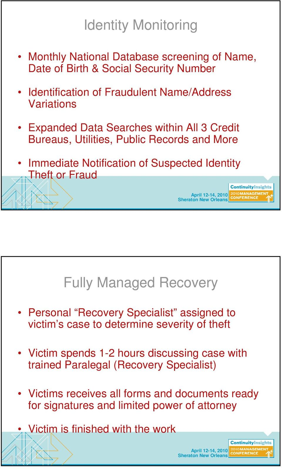 Fraud Fully Managed Recovery Personal Recovery Specialist assigned to victim s case to determine severity of theft Victim spends 1-2 hours discussing case