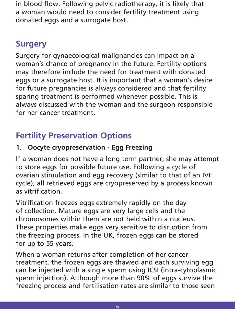 Fertility options may therefore include the need for treatment with donated eggs or a surrogate host.