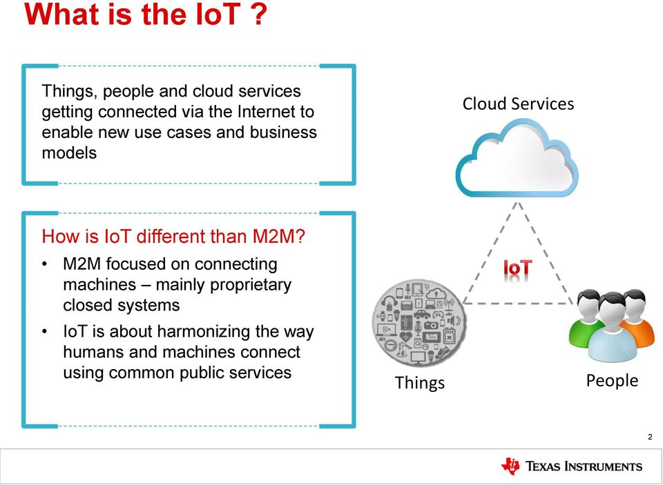 cases and business models Cloud Services How is IoT different than M2M?
