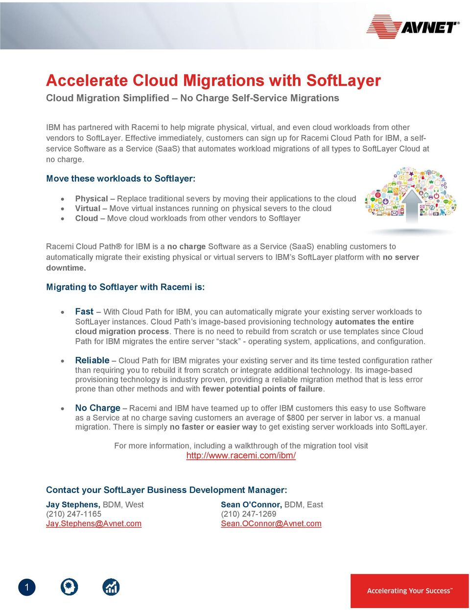 Effective immediately, customers can sign up for Racemi Cloud Path for IBM, a selfservice Software as a Service (SaaS) that automates workload migrations of all types to SoftLayer Cloud at no charge.