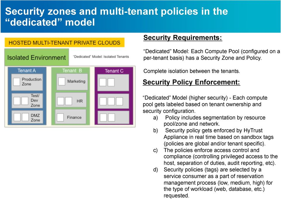 a) Policy includes segmentation by resource pool/zone and network.
