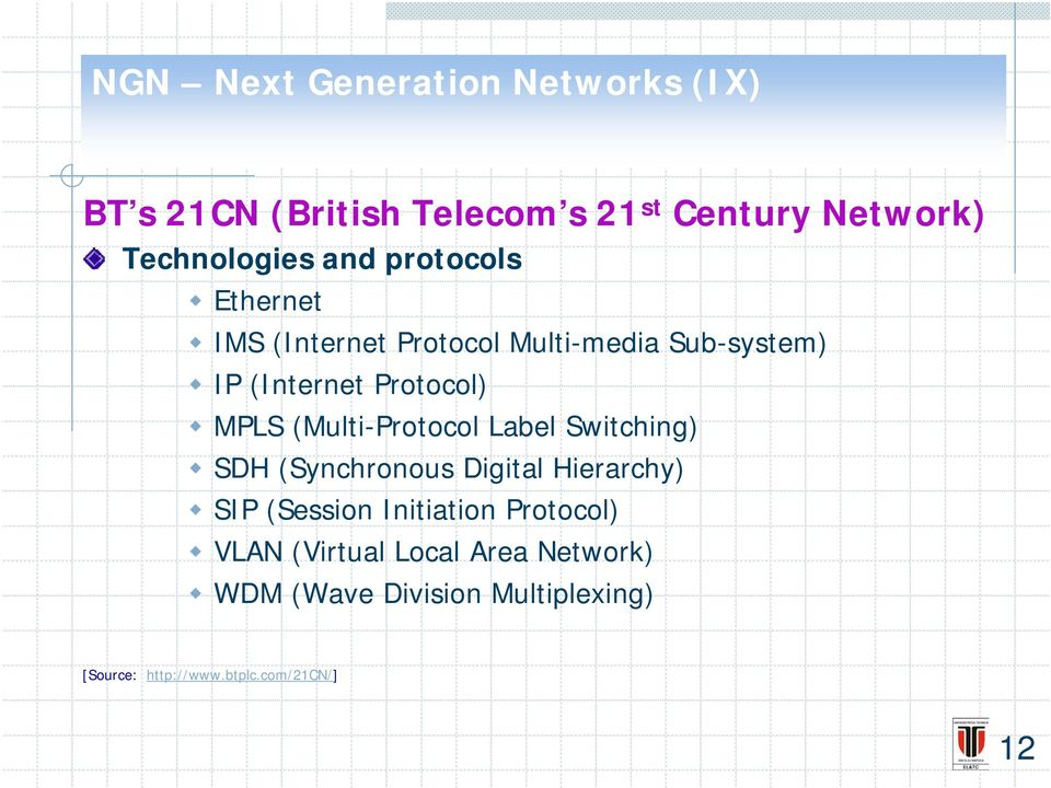 (Multi-Protocol Label Switching) SDH (Synchronous Digital Hierarchy) SIP