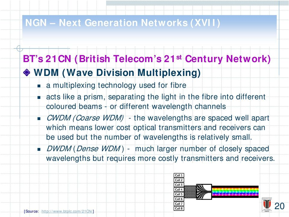 wavelengths are spaced well apart which means lower cost optical transmitters and receivers can be used but the number of
