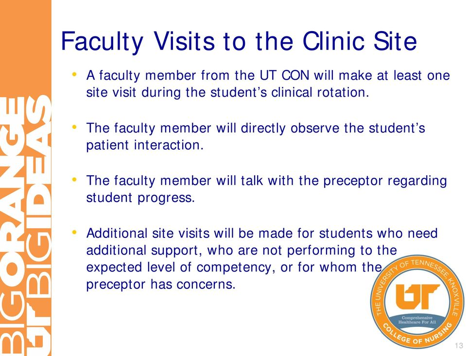 The faculty member will talk with the preceptor regarding student progress.