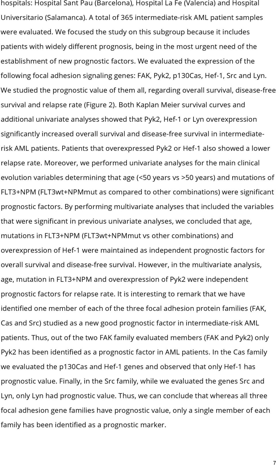 We evaluated the expression of the following focal adhesion signaling genes: FAK, Pyk2, p130cas, Hef-1, Src and Lyn.