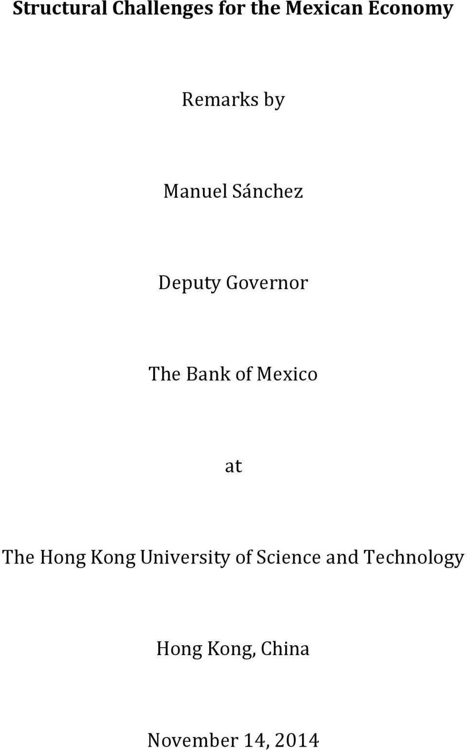 Bank of Mexico at The Hong Kong University of