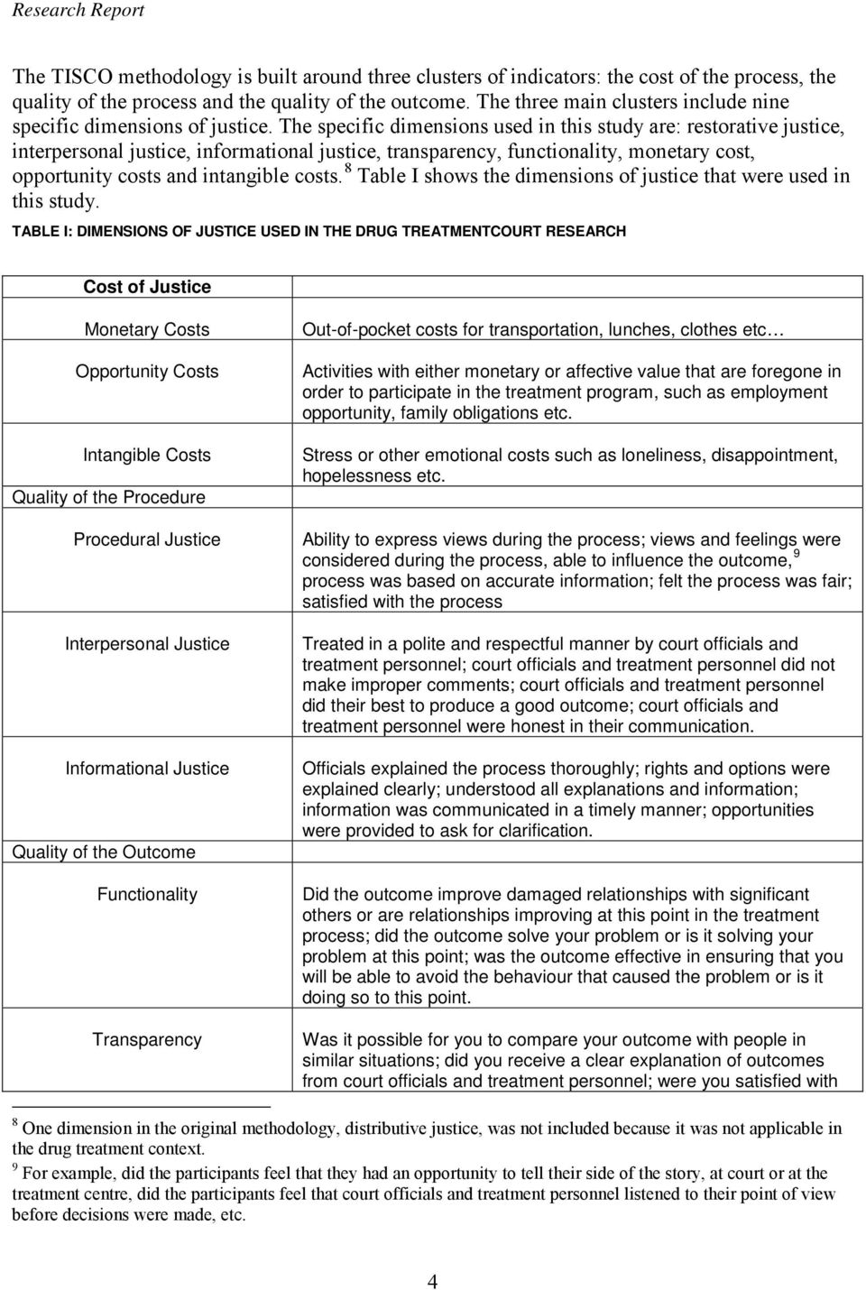 The specific dimensions used in this study are: restorative justice, interpersonal justice, informational justice, transparency, functionality, monetary cost, opportunity costs and intangible costs.