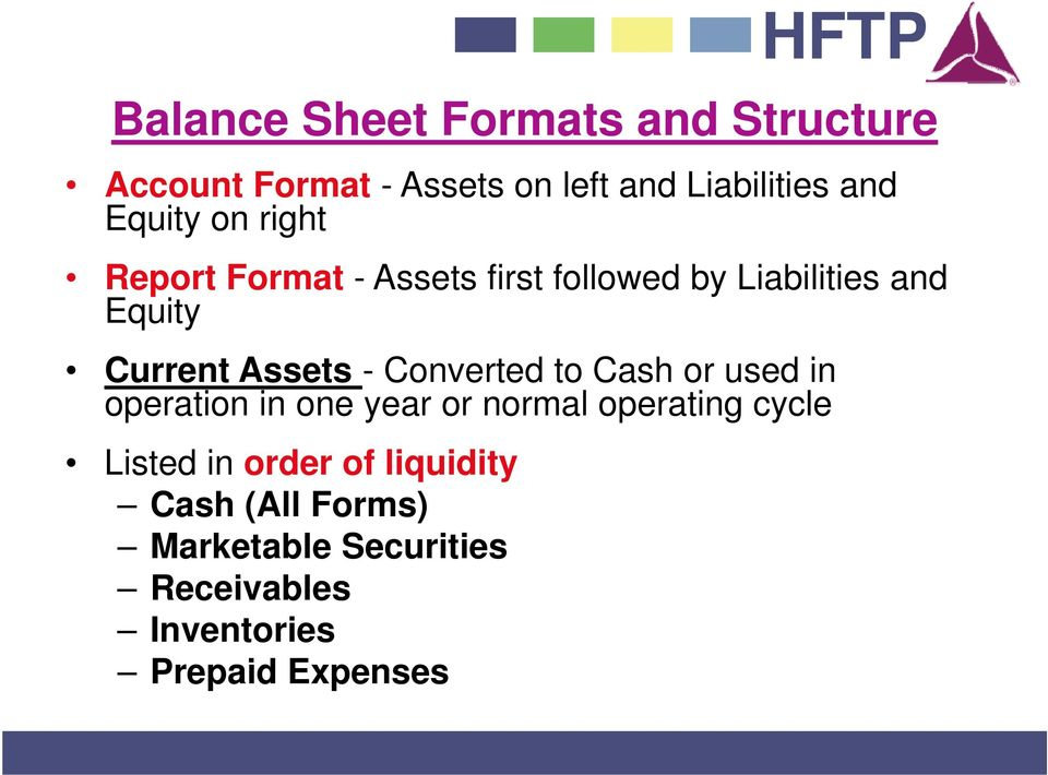 Assets - Converted to Cash or used in operation in one year or normal operating cycle Listed