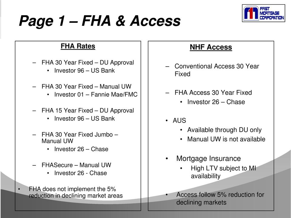 Conventional Access 30 Year Fixed FHA Access 30 Year Fixed Investor 26 Chase AUS Available through DU only Manual UW is not available Mortgage