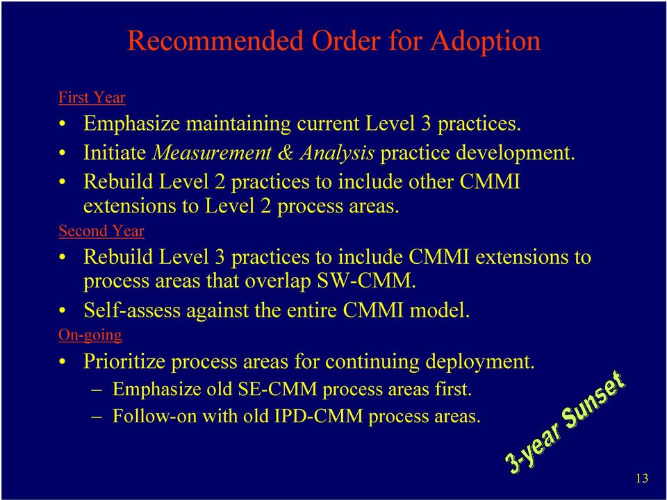 Rebuild Level 2 practices to include other CMMI extensions to Level 2 process areas.