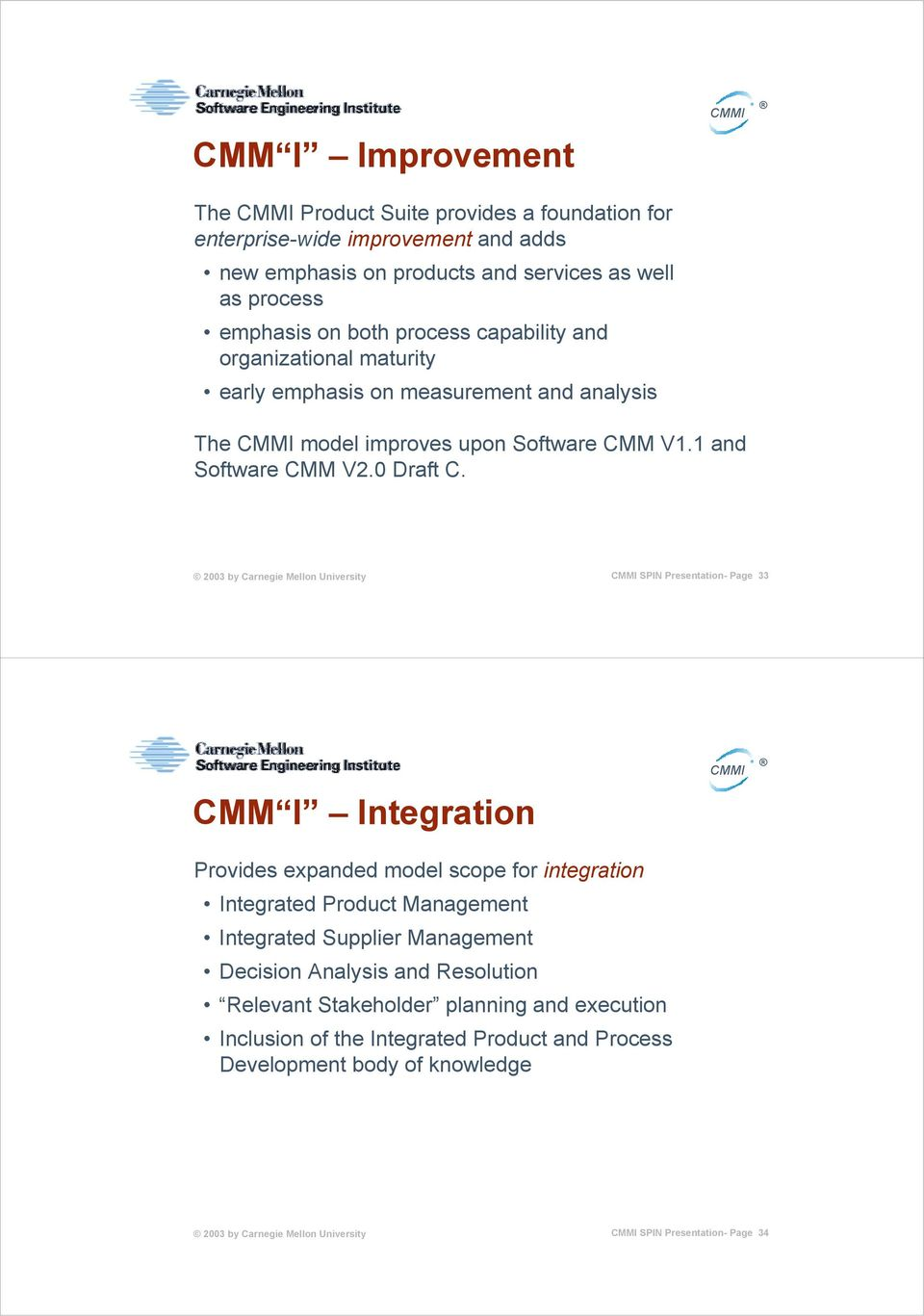 SPIN Presentation- Page 33 CMM I Integration Provides expanded model scope for integration Integrated Product Management Integrated Supplier Management Decision