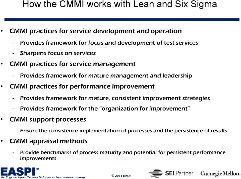 Provides framework for mature, consistent improvement strategies - Provides framework for the organization for improvement CMMI support processes - Ensure the
