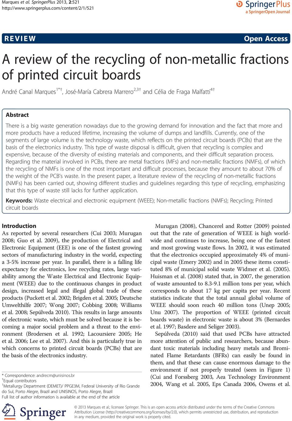 A Review Of The Recycling Non Metallic Fractions Printed Circuit Boards And Clia De Fraga Malfatti 4 Abstract There Is Big Waste Generation Nowadays Due To