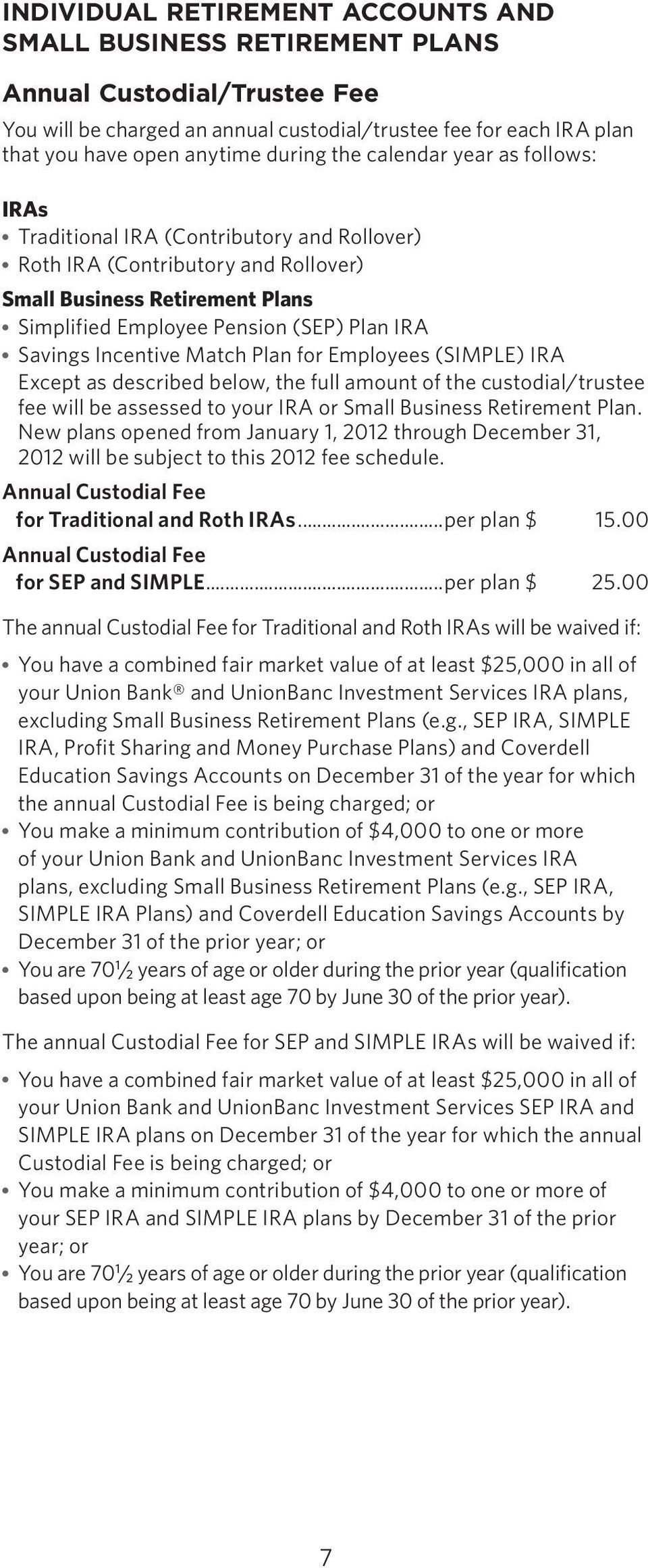 Incentive Match Plan for Employees (SIMPLE) IRA Except as described below, the full amount of the custodial/trustee fee will be assessed to your IRA or Small Business Retirement Plan.