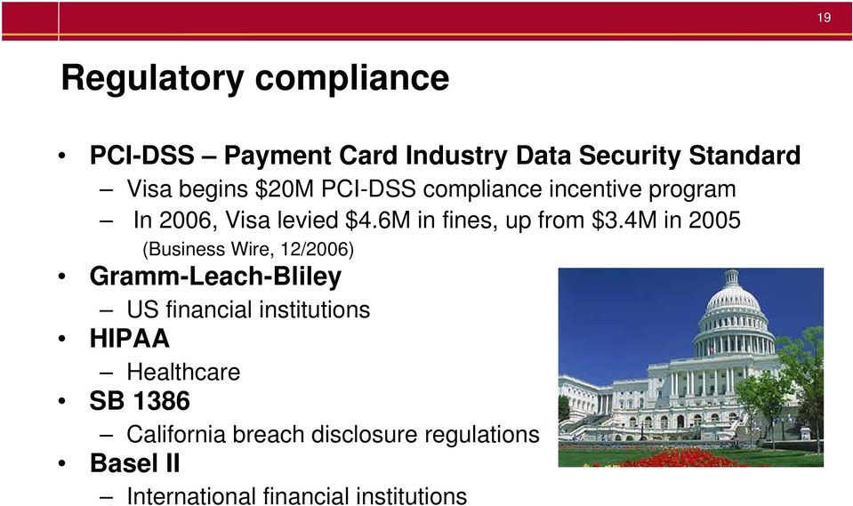 4M in 2005 (Business Wire, 12/2006) Gramm-Leach-Bliley US financial institutions HIPAA
