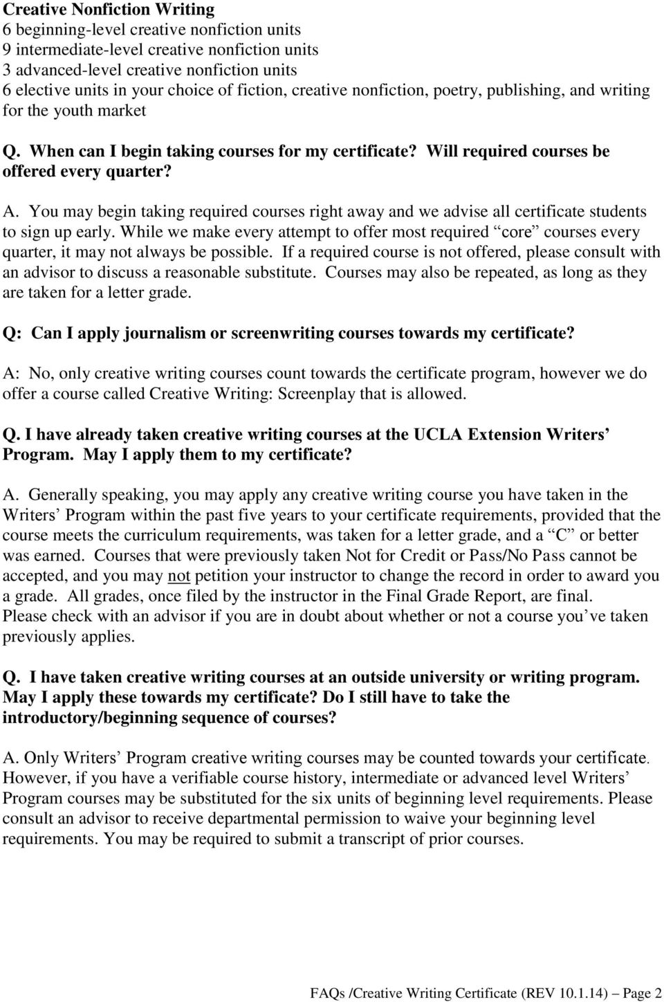Frequently Asked Questions About Certificate Programs In Fiction