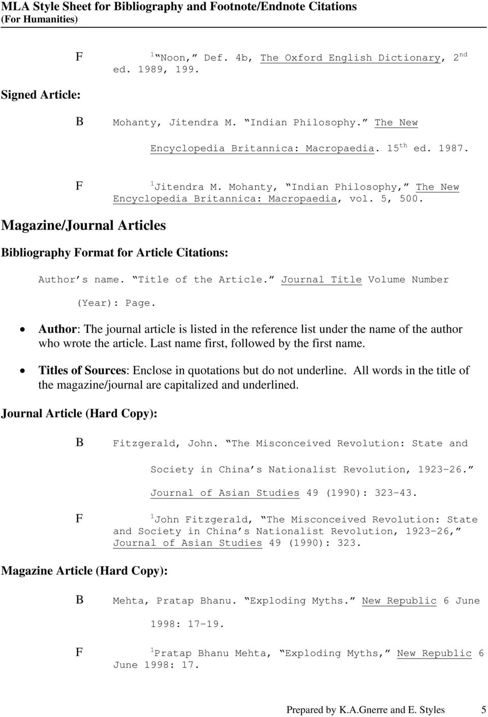 Magazine/Journal Articles ibliography ormat for Article Citations: Author s name. Title of the Article. Journal Title Volume Number (Year): Page.