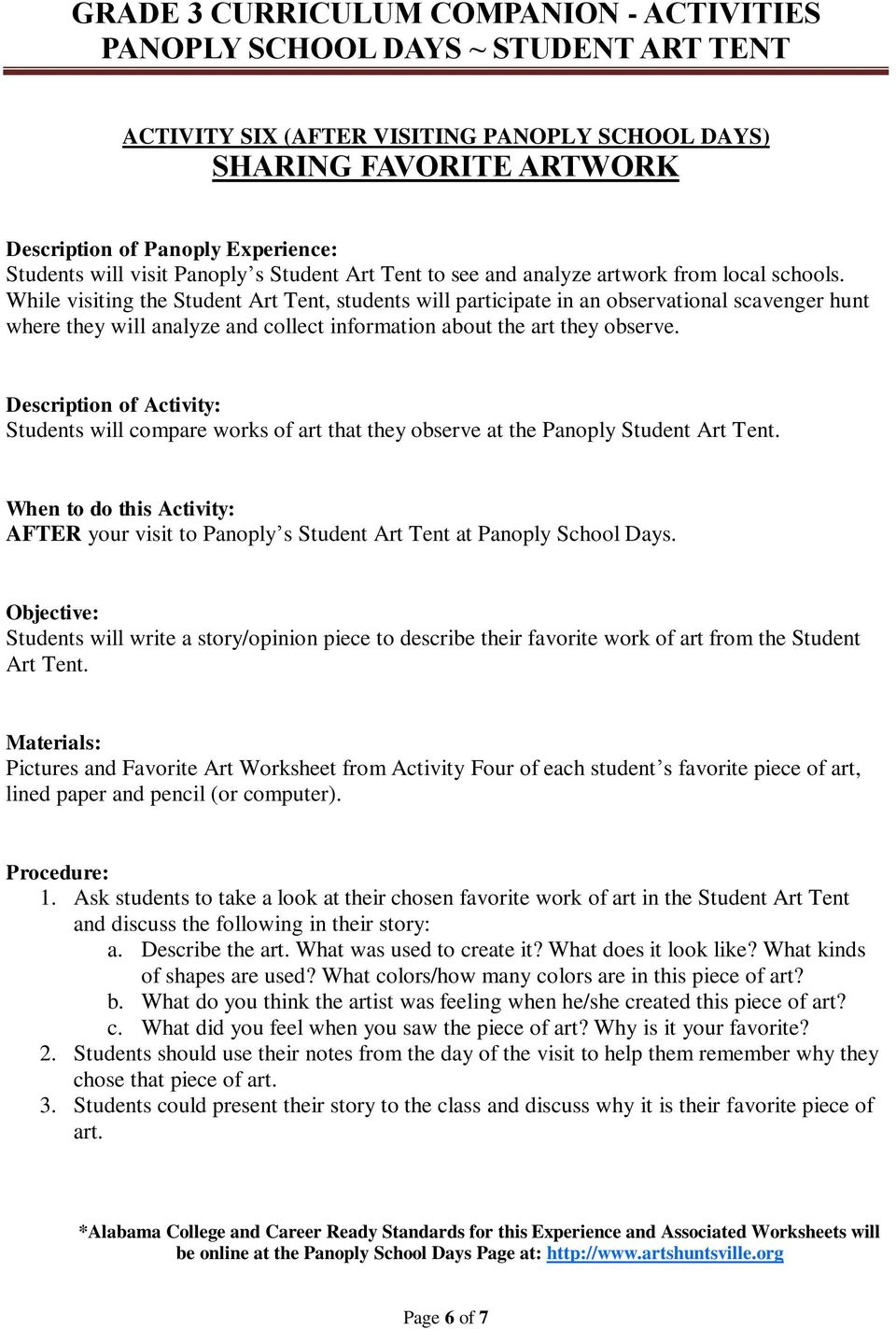 Pictures and Favorite Art Worksheet from Activity Four of each student s favorite piece of art, lined paper and pencil (or computer). 1.