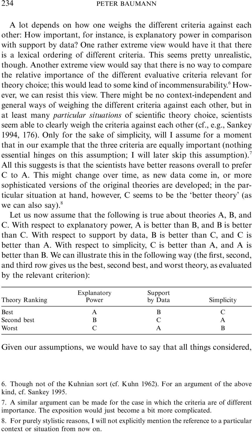 Another extreme view would say that there is no way to compare the relative importance of the different evaluative criteria relevant for theory choice; this would lead to some kind of