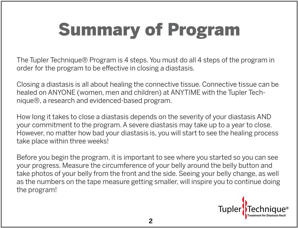 Connective tissue can be healed on ANYONE (women, men and children) at ANYTIME with the Tupler Technique, a research and evidenced-based program.