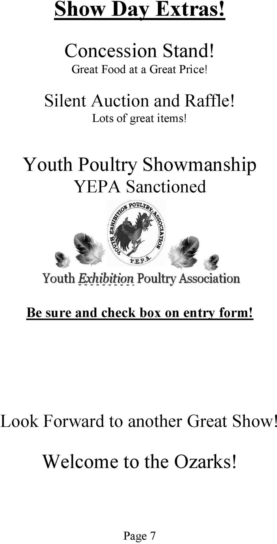 Youth Poultry Showmanship YEPA Sanctioned Be sure and check box