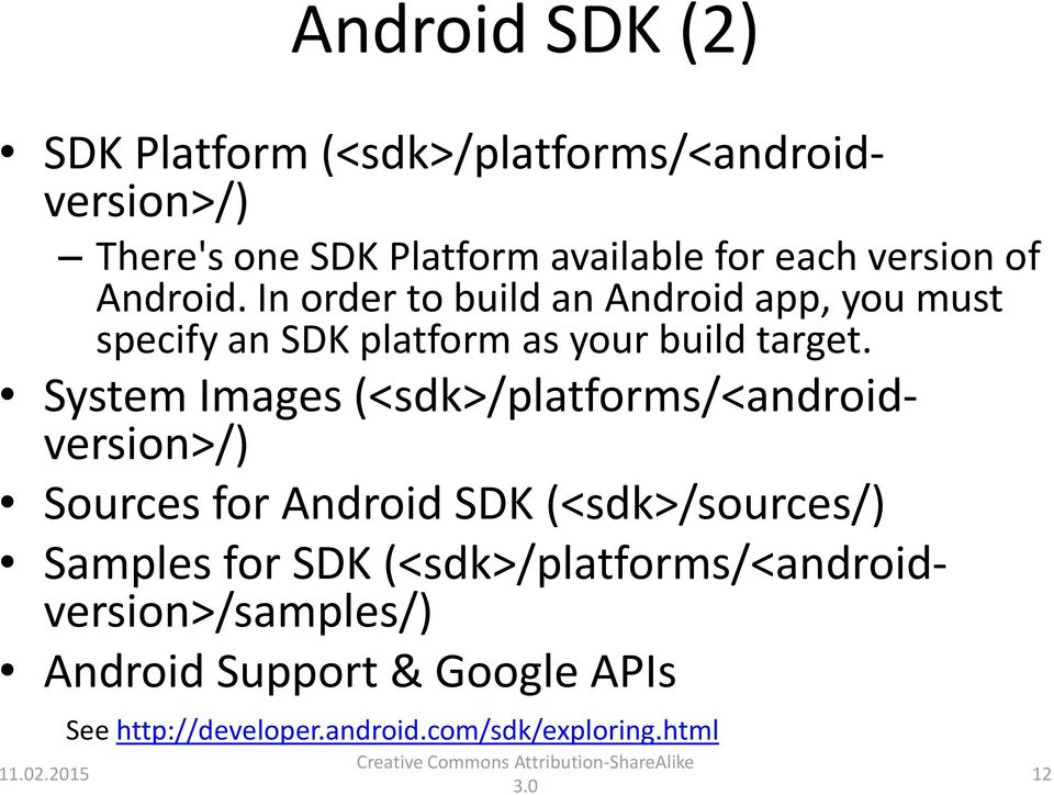 System Images (<sdk>/platforms/<androidversion>/) Sources for Android SDK (<sdk>/sources/) Samples for SDK