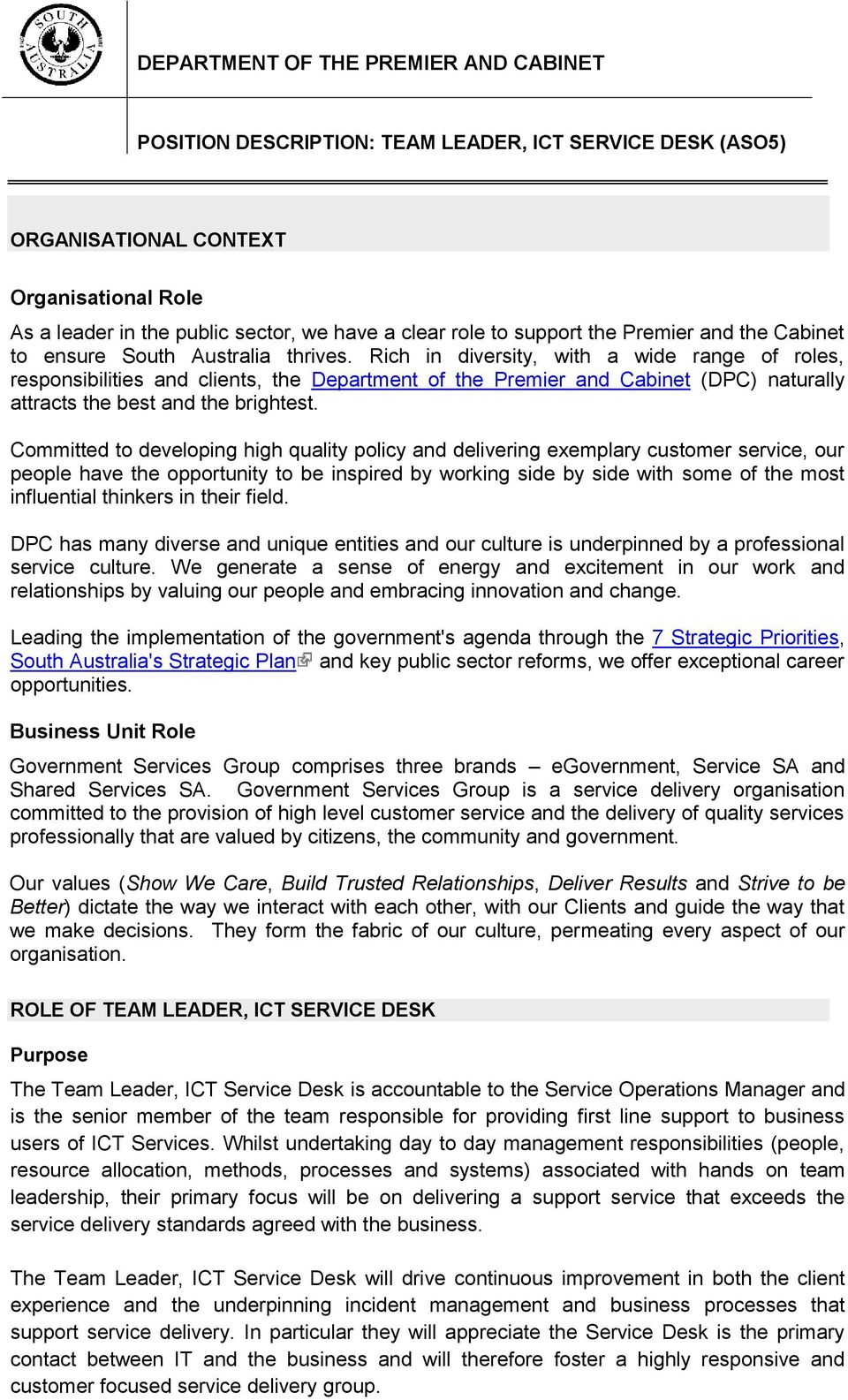 Department Of The Premier And Cabinet Pdf Free Download