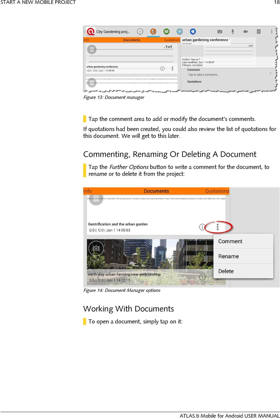 Commenting, Renaming Or Deleting A Document Tap the Further Options button to write a comment for the document, to rename
