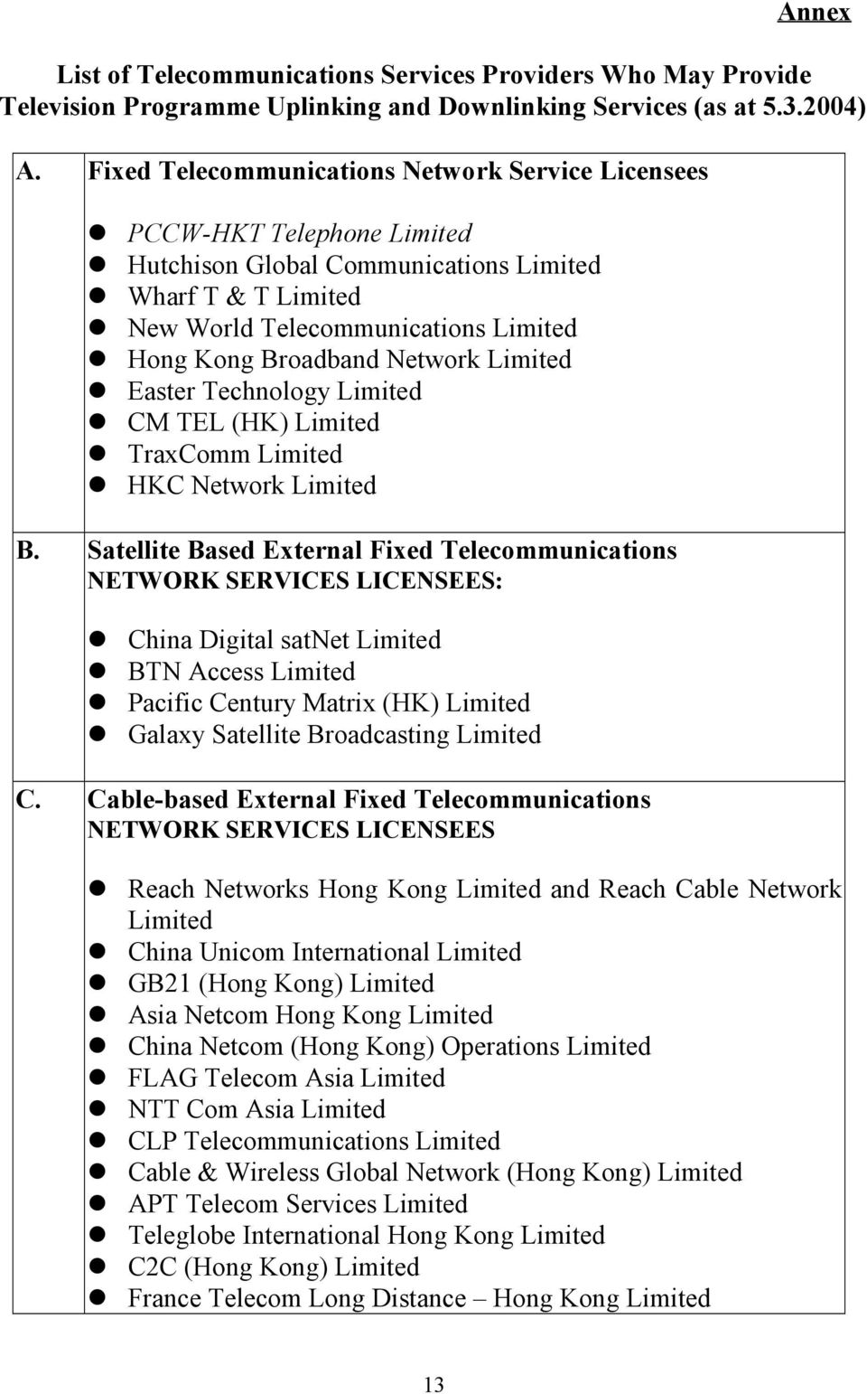 CM TEL (HK) Limited! TraxComm Limited! HKC Network Limited B. Satellite Based External Fixed Telecommunications NETWORK SERVICES LICENSEES:! China Digital satnet Limited! BTN Access Limited!