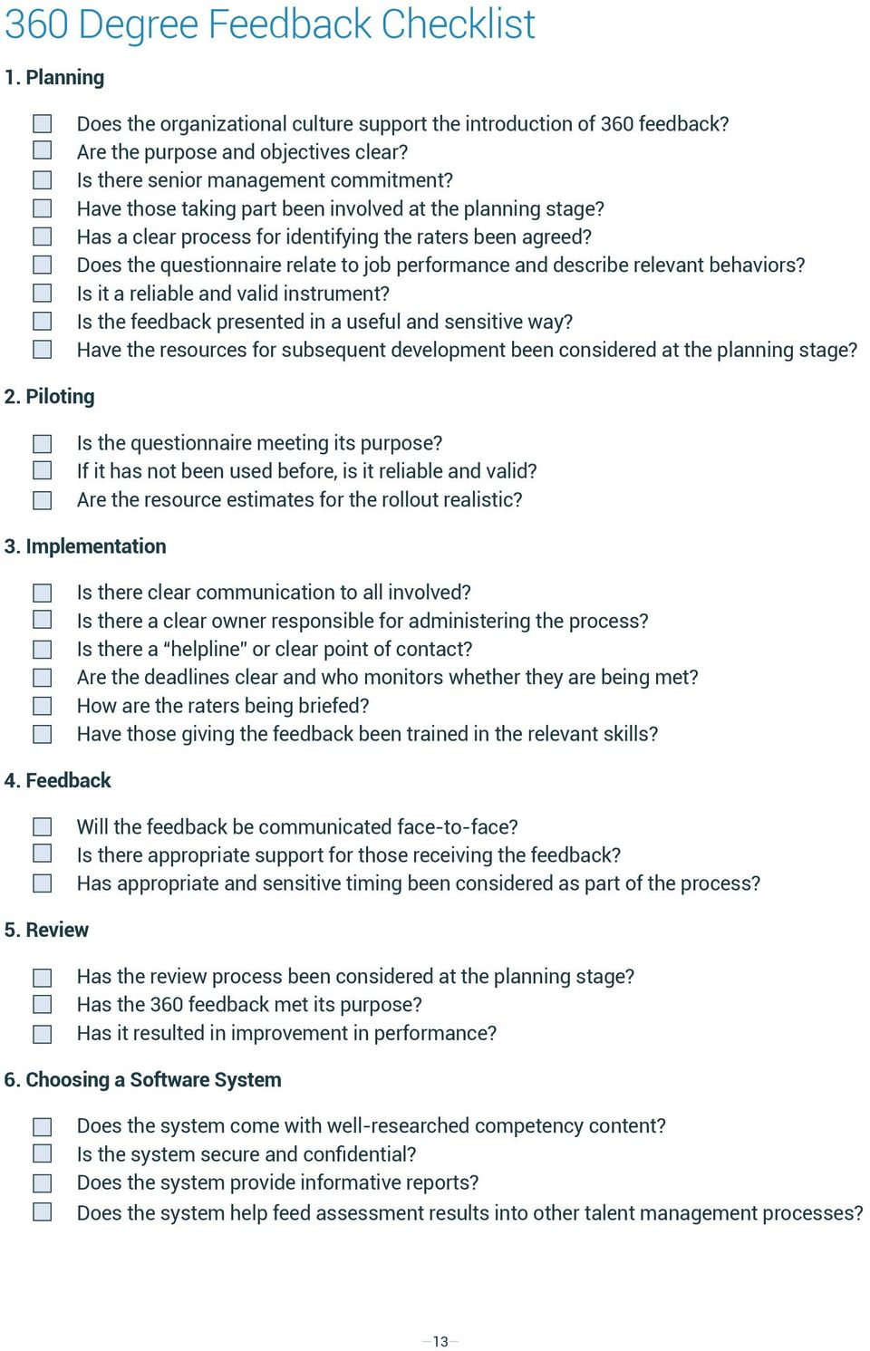 Does the questionnaire relate to job performance and describe relevant behaviors? Is it a reliable and valid instrument? Is the feedback presented in a useful and sensitive way?