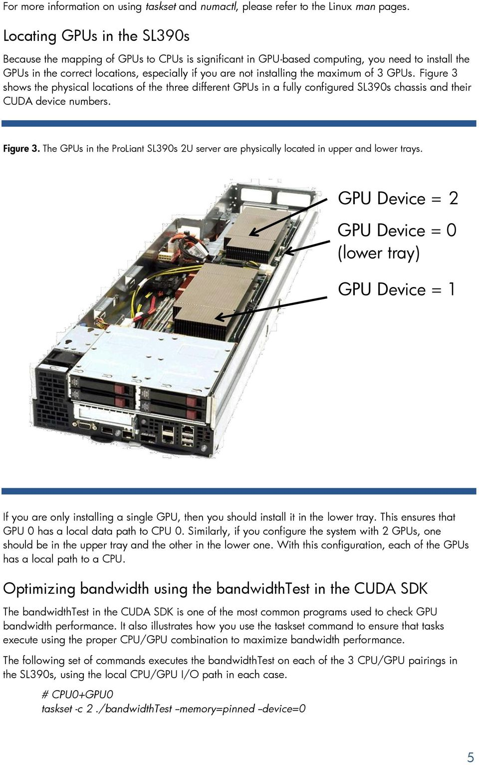 maximum of 3 GPUs. Figure 3 shows the physical locations of the three different GPUs in a fully configured SL390s chassis and their CUDA device numbers. Figure 3. The GPUs in the ProLiant SL390s 2U server are physically located in upper and lower trays.