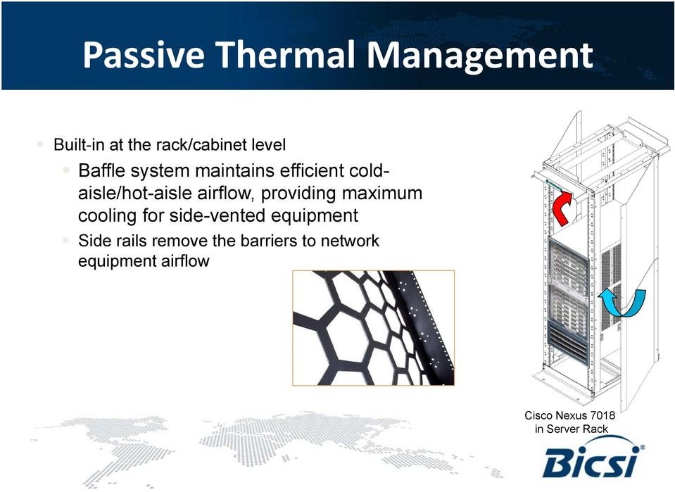 providing maximum cooling for side-vented equipment Side rails