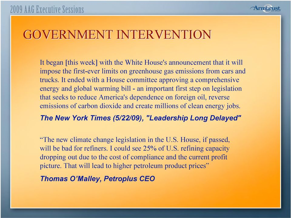 "emissions of carbon dioxide and create millions of clean energy jobs. The New York Times (5/22/09), ""Leadership Long Delayed"" The new climate change legislation in the U.S."