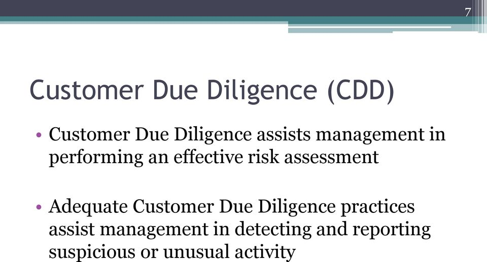 assessment Adequate Customer Due Diligence practices