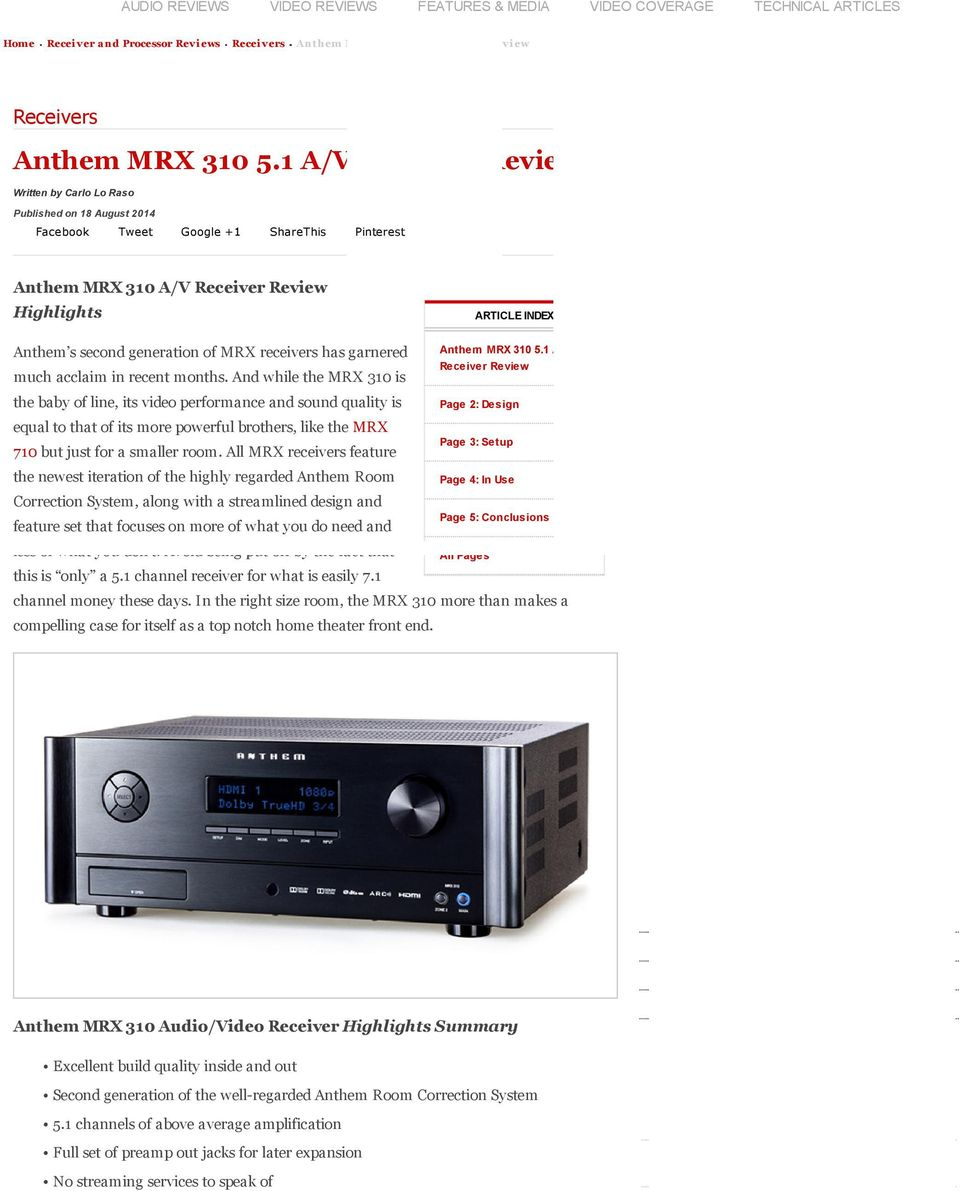 AUDIO REVIEWS VIDEO REVIEWS FEATURES & MEDIA VIDEO COVERAGE