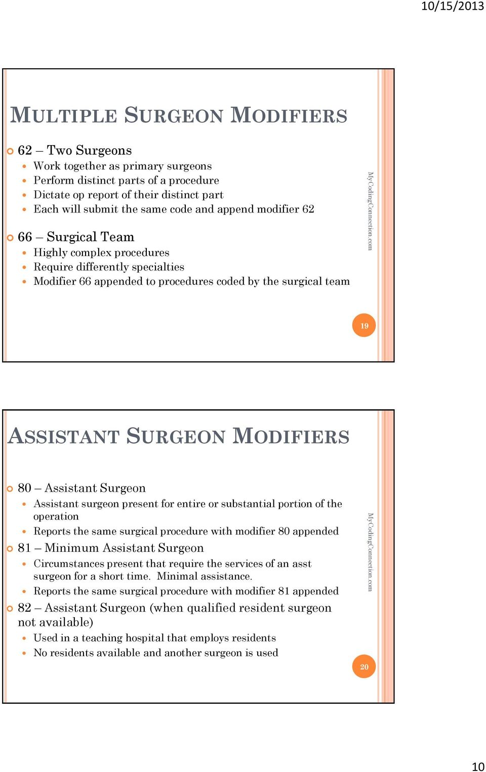 Surgeon Assistant surgeon present for entire or substantial portion of the operation Reports the same surgical procedure with modifier 80 appended 81 Minimum Assistant Surgeon Circumstances present