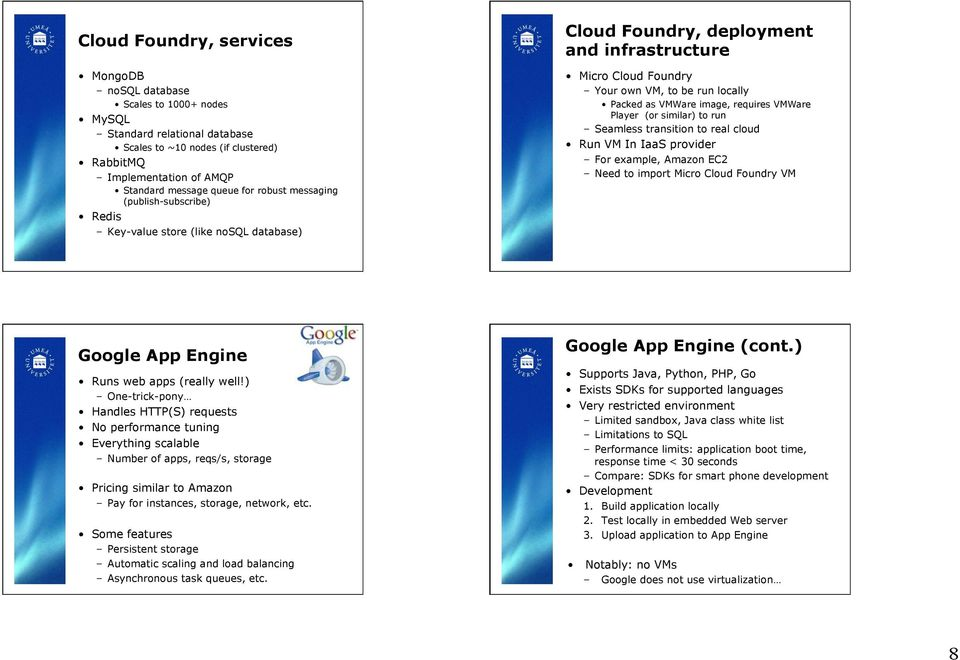 image, requires VMWare Player (or similar) to run Seamless transition to real cloud Run VM In IaaS provider For example, Amazon EC2 Need to import Micro Cloud Foundry VM Google App Engine Runs web
