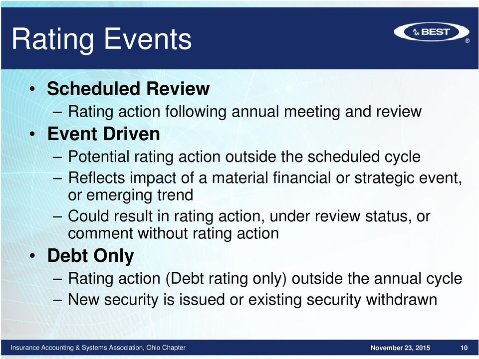 emerging trend Could result in rating action, under review status, or comment without rating action Debt