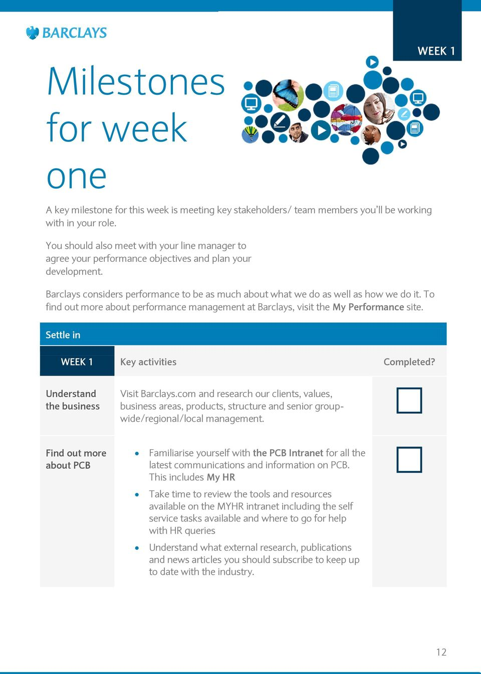 To find out more about performance management at Barclays, visit the My Performance site. Settle in WEEK 1 Key activities Completed? Understand the business Visit Barclays.