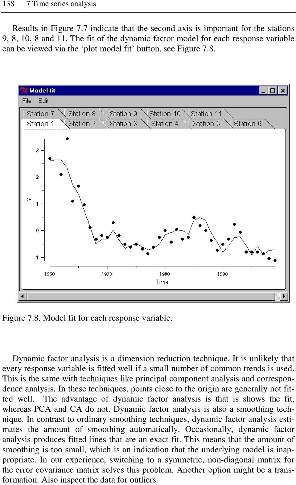 Dynamic factor analysis is a dimension reduction technique. It is unlikely that every response variable is fitted well if a small number of common trends is used.