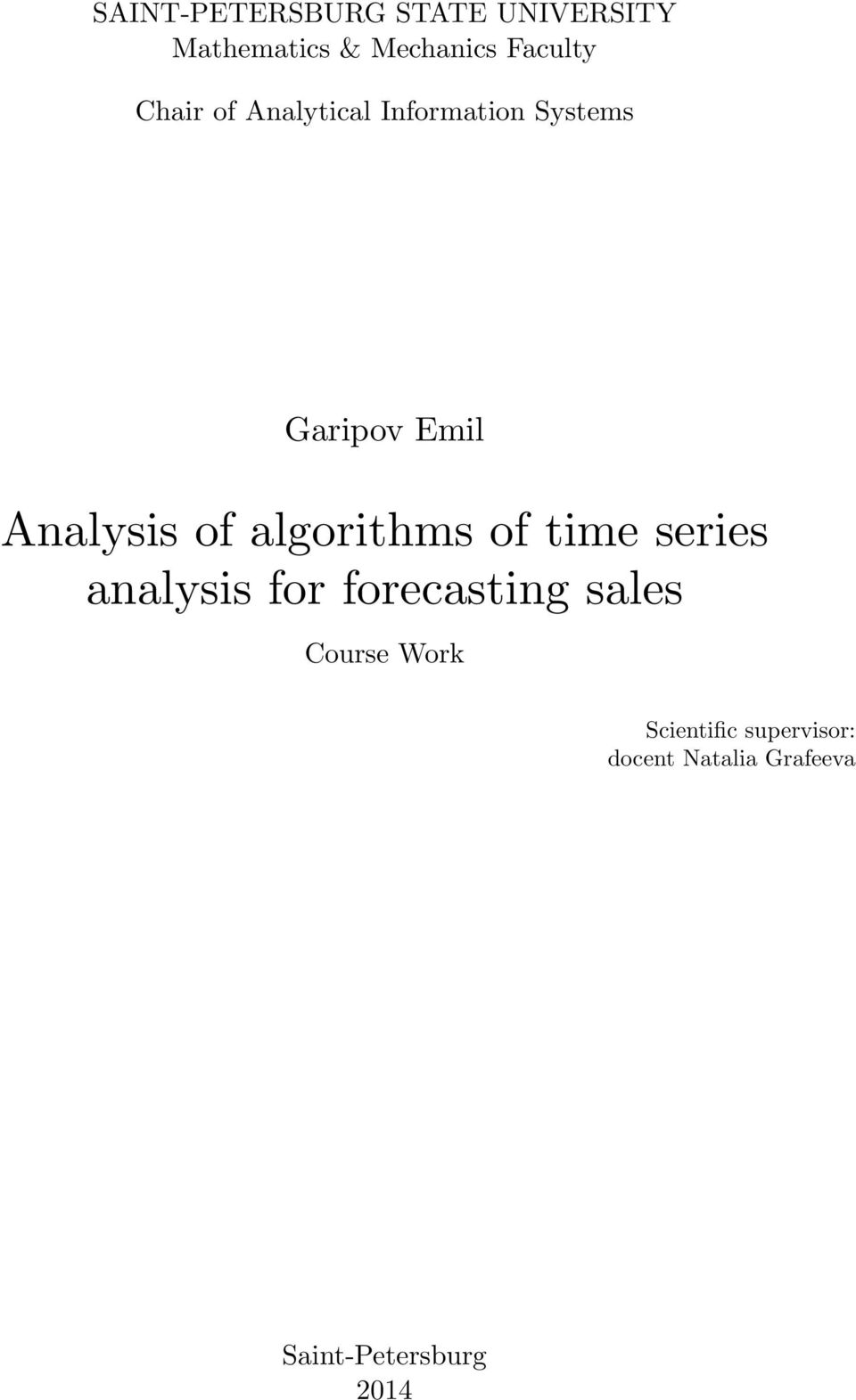 algorithms of time series analysis for forecasting sales Course